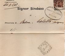 1909 LETTERA CON ANNULLO URBANA PADOVA + SALETTO - Storia Postale