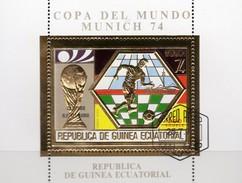 Campeon R.F.ALEMANIA 1974 Äquator.Guinea Bl.124 O 7€ Sieg BRD Overprint Bloc Ss Gold Soccer Sheet Bf Ecuator.Africa - Guinée Equatoriale