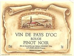 VIN DE PAYS D'OC .. ROUGE  .. PINOT NOIR  . 12°  . 75cl - Vin De Pays D'Oc