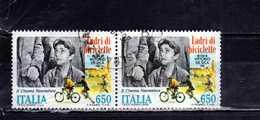 ITALIA REPUBBLICA ITALY REPUBLIC 1988 CINEMA FILM NEOREALISTI LADRI DI BICICLETTE VITTORIO DE SICA LIRE 650 USATO USED - 1946-.. République