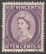 St Vincent. 1953-63 QEII. 10c Used. Mult Script CA W/M. SG 194 - St.Vincent (...-1979)