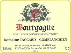 BOURGOGNE  - Domaine TACCARD-COMBLANCHIEN  ..75cl  .. - Bourgogne