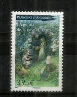 Légende De La Cave D'Arans (rencontre De La Dame Blanche),timbre Neuf ** Haute Faciale Pour Lettre Recommandée,coin Daté - Andorra Francese