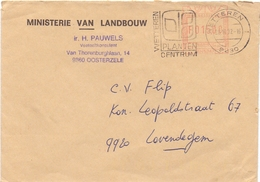 Omslag Enveloppe - Gemeente Oosterzele - Stempel Wetteren 1992 - Entiers Postaux