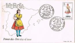 21091. Carta Exposicion Filatelica MANRESA (Barcelona) 1969. Murcia Traje Tipico - 1931-Hoy: 2ª República - ... Juan Carlos I
