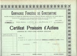 COMPAGNIE FONCIERE De CONSTANTINE (Algérie) Certificat Provisoire  INVESTISSEMENT  IMMOBILIER ALGERIE FRANCAISE - Afrique