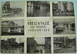 CPA Rare NEUVILLE Sur SAÔNE - Les Inondations De Janvier 1955 - Etat Moyen - Fontaines - Neuville Sur Saone