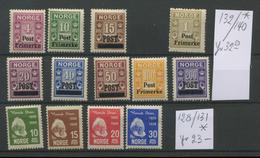Norge 128-131 132-140 Avec Charnière  Mit Falz  Cote  55 € - Noruega