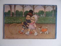 Illustrateur COLOMBO ENFANT JEUX CERCEAU CHIEN PARC SQUARE GARCON FILLE Fantaisie - Colombo, E.