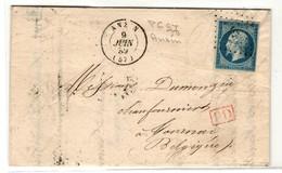 France  Yv.14  PC  97 Anzin (57 - Nord) Sur Lettre Au Tarif Frontalier A Tournai (Belgique) (numéro Du Lot B5T) - 1849-1876: Classic Period