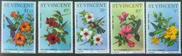 ST VINCENT 1976, Oiseaux Colibris / Hummingbirds / Kolibris & Hibiscus Flower Yv. 444/48  Full Set MNH ** - Kolibries