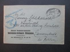 Deutsches Reich 1937 Frei Durch Ablösung Reich. Reichsbahn Kraftwerk Mittelsteine. Bahnpost Dittersbach - Glatz - Germany
