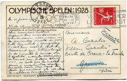 PAYS-BAS CARTE OFFICIELLE DES JEUX OLYMPIQUES DE 1928 DEPART S GRAVENHAGE II-VI 1928 POUR LA FRANCE
