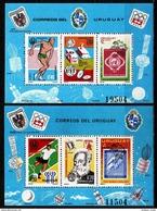 + URUGUAY: Mi Bl. 29-30 Yv BF #28A-B Space - UIT / UPU / FIFA - Anniversaries: Sport, Olympic (1976) MNH *** 2 S/S Bls - UPU (Universal Postal Union)