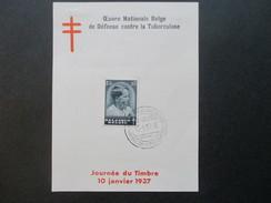 Belgien 1937 Nr. 442 Tag Der Briefmarke Sonderblatt. Defense Contre La Tuberculose. FDC / Ersttag - Belgien