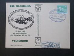 Sonderkarte RBD Magdeburg, Volksstimme, Sonderzug Der Solidarität 1987, Dampfloks Baureihe 41 Und 50 - Eisenbahnen