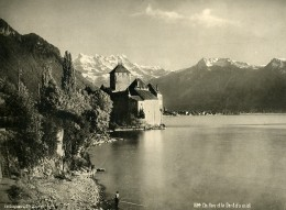 Suisse Chillon Et La Dent Du Midi Alpes Montagne Ancienne Photo Schroeder 1890 - Photographs