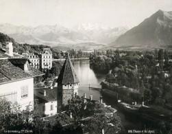 Suisse Thoune Panorama Et Les Alpes Montagne Ancienne Photo Schroeder 1890 - Photographs