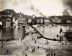 Suisse Lucerne Panorama Rue Animee Ancienne Photo Sommer 1890 - Photographs