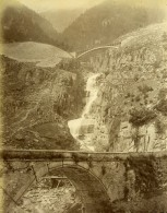 Suisse Gothard Gotthardbahn Ponts Et Cascade Ancienne Photo Bosetti 1890 - Photographs