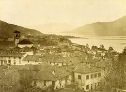 Italie Lac Majeur Lago Maggiore Luino Panorama Ancienne Photo Bosetti 1890 - Antiche (ante 1900)