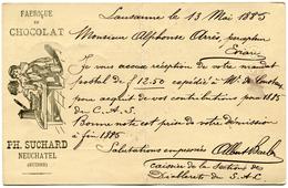 """SUISSE ENTIER POSTAL AVEC PUBLICITE """"FABRIQUE DE CHOCOLAT PH. SUCHARD NEUCHATEL (SUISSE) DEPART LAUSANNE 13 V 85........ - Entiers Postaux"""