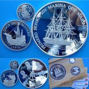SPAIN 1+5+25 E 1996 ARGENTO PROOF SILVER +6OZ SHIP VELIERI TOPETE ANTEQUERA TIMON VILLA DE MADRID PESO 209,09g TITOLO 0, - España