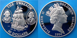 SOLOMON ISLANDS 10 $ 1994 ARGENTO PROOF SILVER SAILING SHIP SWALLOW VELIERO PESO 28,28g TITOLO 0,925 CONSERVAZIONE FONDO - Salomon
