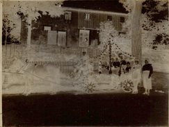 Superbe Plaque De Verre Négatif - Attelage Décoré Pour La Fête Du Village Avec Son Cheval Transportant 5 Gamins En Marin - Glasdias