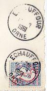 """1961-Beau Cachet Manuel """"ECHAUFFOUR--61--Orne"""" Sur Cpsm 15 X 10 Chaumière Normande - Marcophilie (Lettres)"""