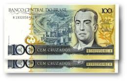 BRASIL - 2 X Consecutive 100 CRUZADOS - ND ( 1987 ) - P 211.c - UNC. - Serie 1932 - Sign. 25 - Juscelino Kubitschek - Brazil