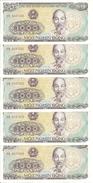 VIET NAM 1000 DONG 1988 UNC P 106 ( 5 Billets ) - Vietnam