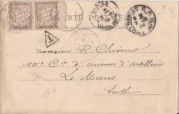 Taxe Paire N°29 Nantes Vers Le Mans Sur Cpa Saint-nazaire-1904 - Taxes