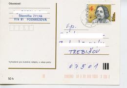 Timbre Slovaquie Actrice Cinema Theatre Hana Melickova  Collé Sur Carte Postale Tchecolsovaquie (carte Non Admis) - Postal Stationery