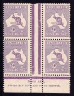 Australia 1929 Kangaroo 9d Violet Small Multi. Wmk Ash Imprint Block Of 4 MNH - Mint Stamps