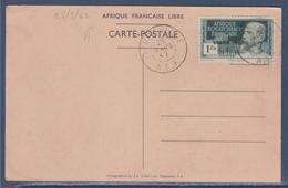 = Arrivée Du Général De Gaulle à Brazzaville 140C Sur CP Oblitéré Libreville 25.3.42 (type Du 116) Revue Des Troupes - Brieven En Documenten