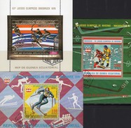 Olympiade Innsbruck 1976 Äquatorial Guinea Bl.161+205/6 O 10€ Eishockey Ski-Slalom Gold Sheets Bf Ecuator.Africa Ss - Guinée Equatoriale