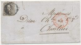 1851-13 JANV. BRIEF MET COB3 VAN PHILIPPEVILLE(P96) NAAR CHARLEROY - 1849-1850 Médaillons (3/5)