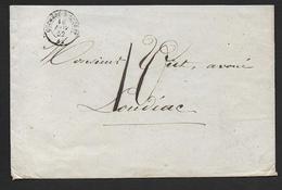 Morbihan - Cachet Type 15  GUEMENE- S- SCORFF  Sur Enveloppe Avec Taxe 10 Manuscrite De 1852 - Postmark Collection (Covers)