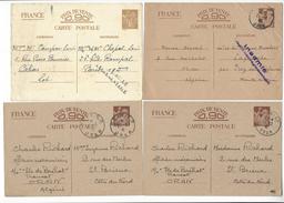 4 ENTIERS ENTIER INTERZONE IRIS INADMIS PARIS CAHORS FREZ ORAN ALGERIE OCCUPATION /FREE SHIPPING R - Guerre De 1939-45