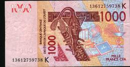 ÉTATS D´AFRIQUE DE L´OUEST 1000 Francs 2003 (lettre K: Sénégal) , Verso Dromadaire - West African States