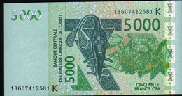 ÉTATS D´AFRIQUE DE L´OUEST 5000 Francs 2003 (lettre K: Sénégal) , Verso Kobus Kob Kob, Cobe De Buffon - Westafrikanischer Staaten