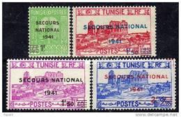 Tunisie N° 227 / 30  XX  La Série Des 4 Valeurs Surchargées Sans Charnière TB