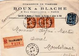 DEVANT DE LETTRE 6.2.29  RECOMMANDE COMMERCE DE VIANDES ROUX & BLACHE RUE COQUIL PARIS. CHAMARET DROME  POUR MONTELIMAR - 1921-1960: Moderne