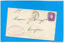 MARCOPHILIE -CHILI-lettre Entier Postal-5 Cent Colon Cad Victoria1898> Conception - Chile