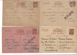 4 ENTIERS ENTIER INTERZONE IRIS INADMIS PARIS LA GARENNE COLOMBES ALGERIE CHAZAY ST MARD EYMET QUIMPER /FREE SHIPPING R - Marcophilie (Lettres)