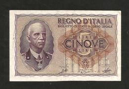 REGNO D´ ITALIA - 5 LIRE IMPERO (Decr. 1940 / XVIII - FIRME: Grassi / Porena / Cossu) - VITTORIO EMANUELE III - [ 1] …-1946 : Regno