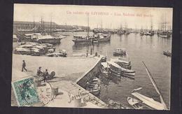 CPA ITALIE - LIVOURNE - LIVORNO - Un Saluto Da LIVORNO - Une Veduta Del Porto TB PLAN ANIMATION Bâteaux - Livorno