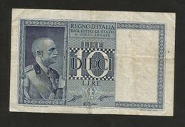 REGNO D´ ITALIA - 10 LIRE IMPERO (Decr. 1938 - Firme: Grassi / Collari / Porena) VITTORIO EMANUELE III - [ 1] …-1946: Königreich
