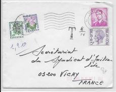 """1978 - TAXE """"FLEURS"""" - ENVELOPPE De VERVIERS (BELGIQUE) Pour VICHY Avec TAXE"""